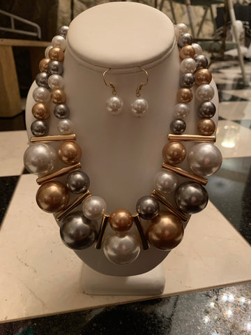Double Pearl Necklace/Earring Set