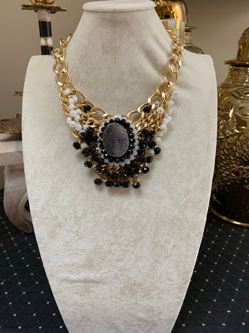 Black/White & Gold Chunky Necklace