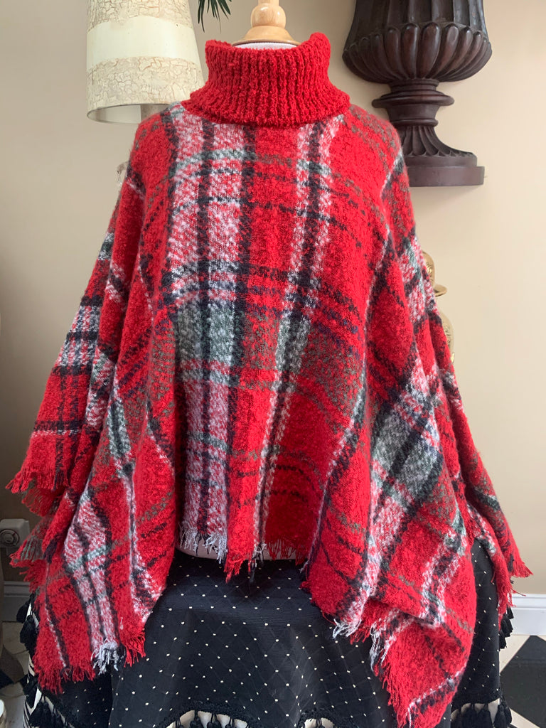 Red & Green Plaid Poncho