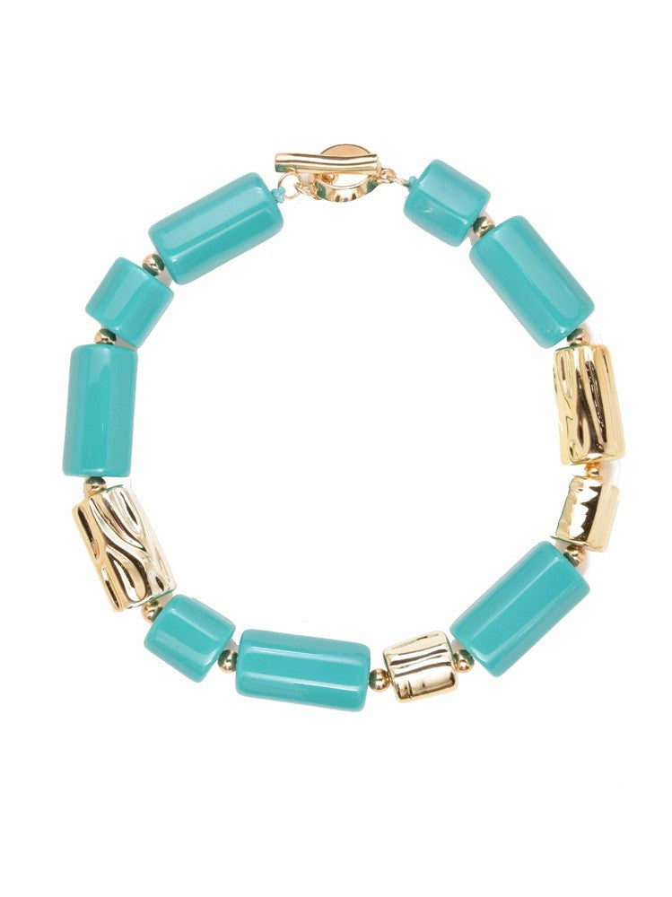 Chunky Resin Tube Necklace-Turquoise