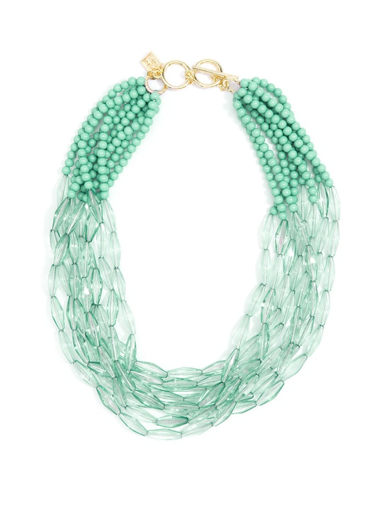Geometric Beaded Lucite Necklace-Mint