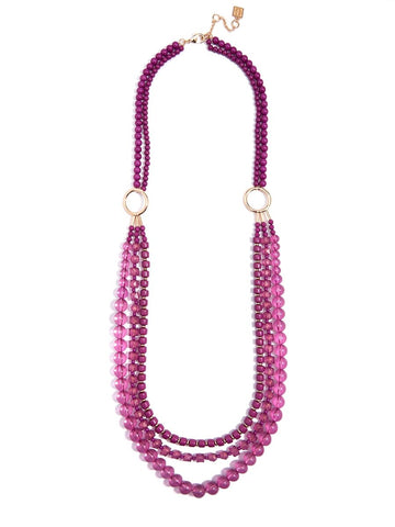 Beaded Lucite & Resin Necklace-Berry