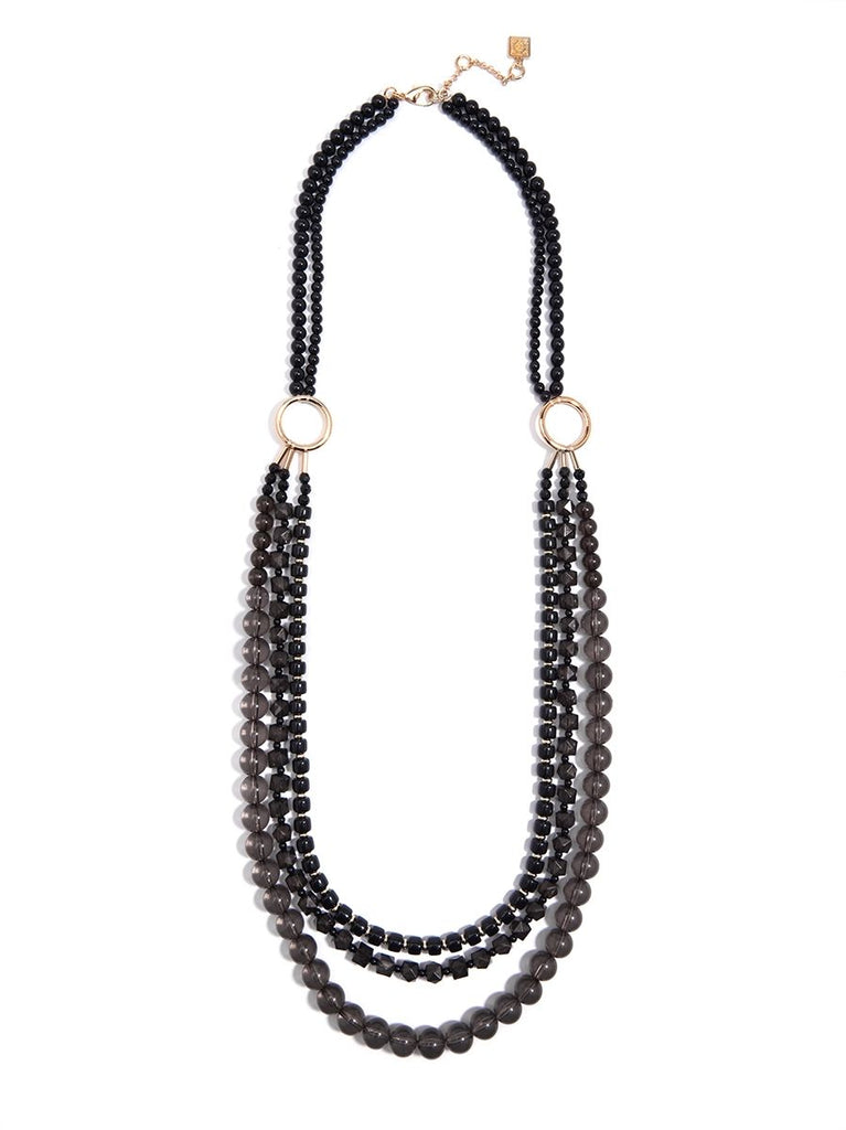 Beaded Lucite & Resin Necklace-Black