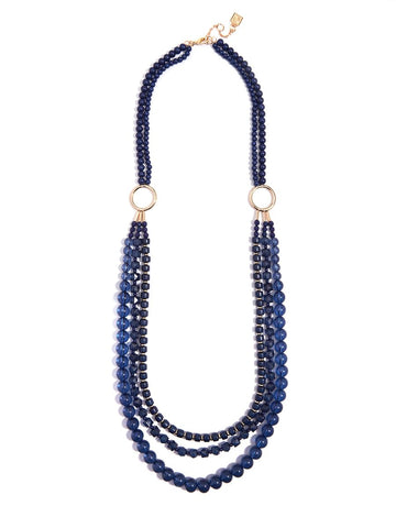 Beaded Lucite & Resin Necklace-Navy