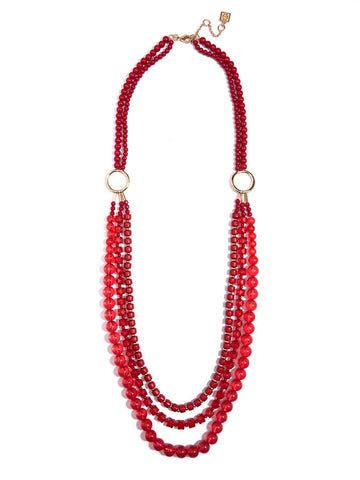 Beaded Lucite & Resin Necklace-Red