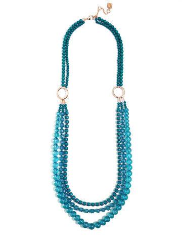Beaded Lucite & Resin Necklace-Teal