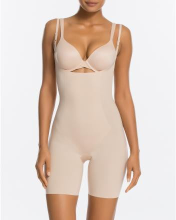 SPANX Thinstincts Open-Bust Mid Thigh Bodysuit