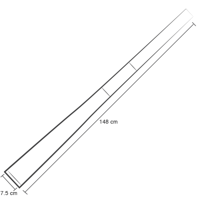 sketch of knit tie that is 7.5cm wide and 148cm long