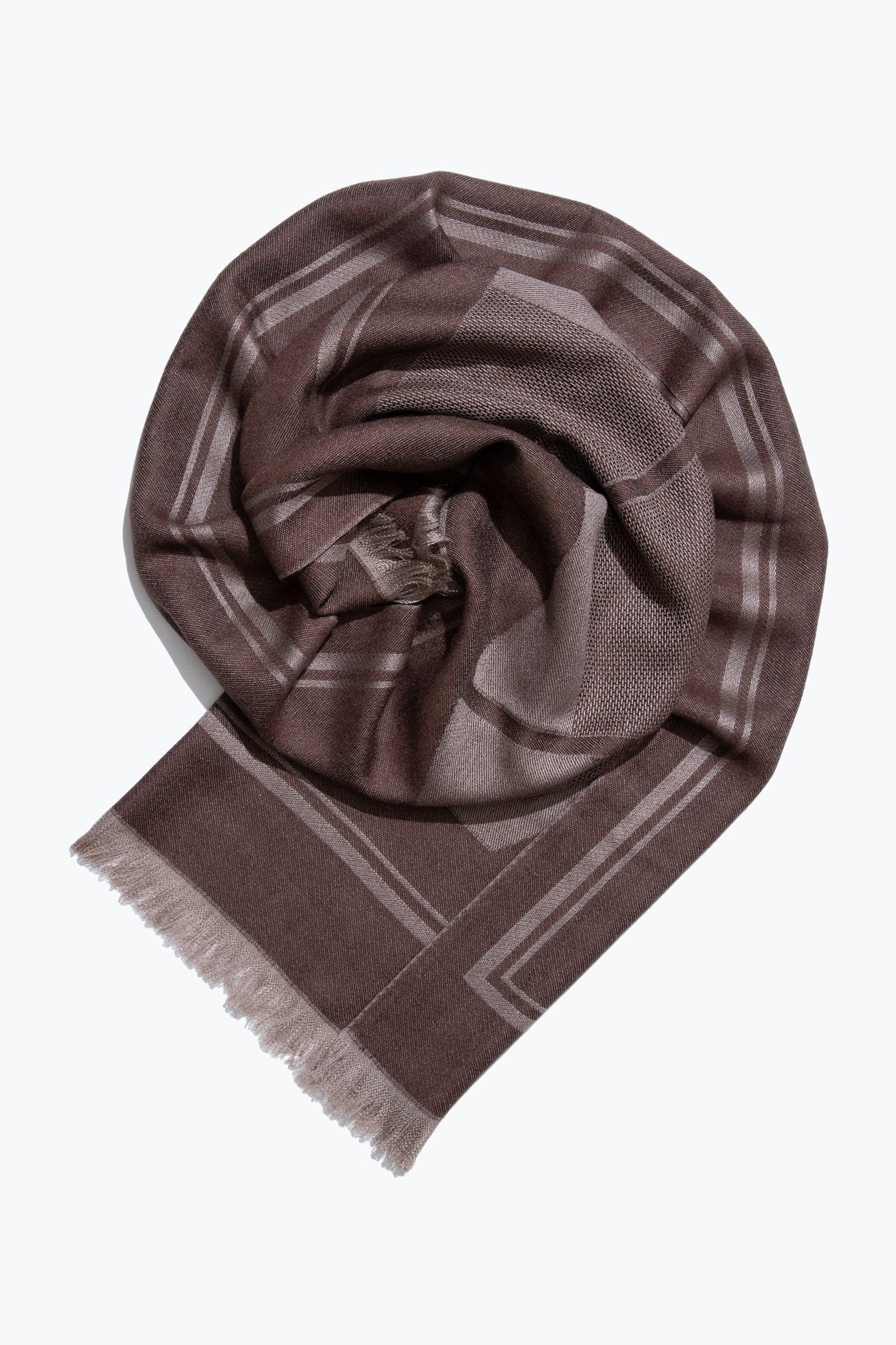 woven large scarf - patchwork sculpture (chocolate)
