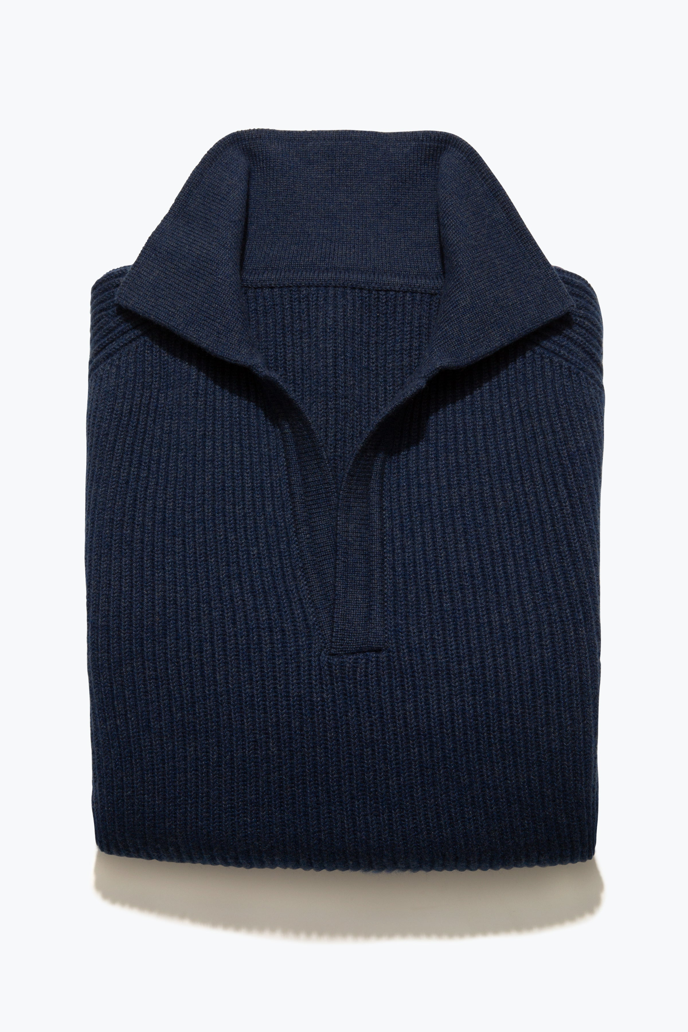 Sweaters - Ribbed Polo (Dark Indigo)