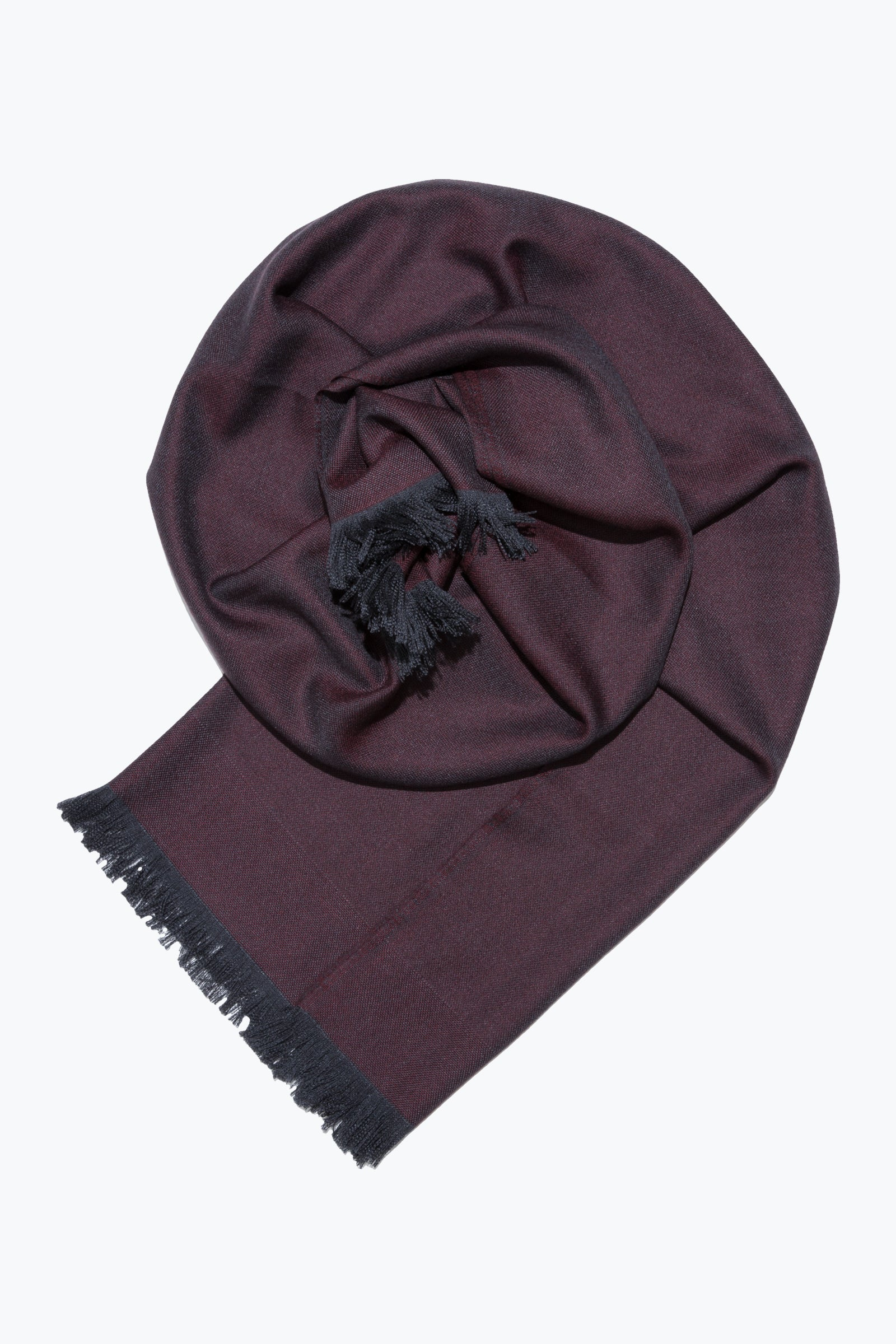 woven shawl scarf - solid with border (wine)