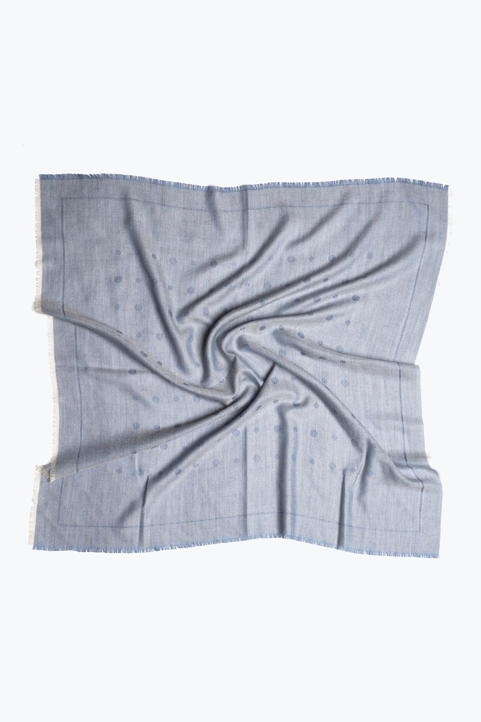 woven square scarf - alternating dots (washed indigo)