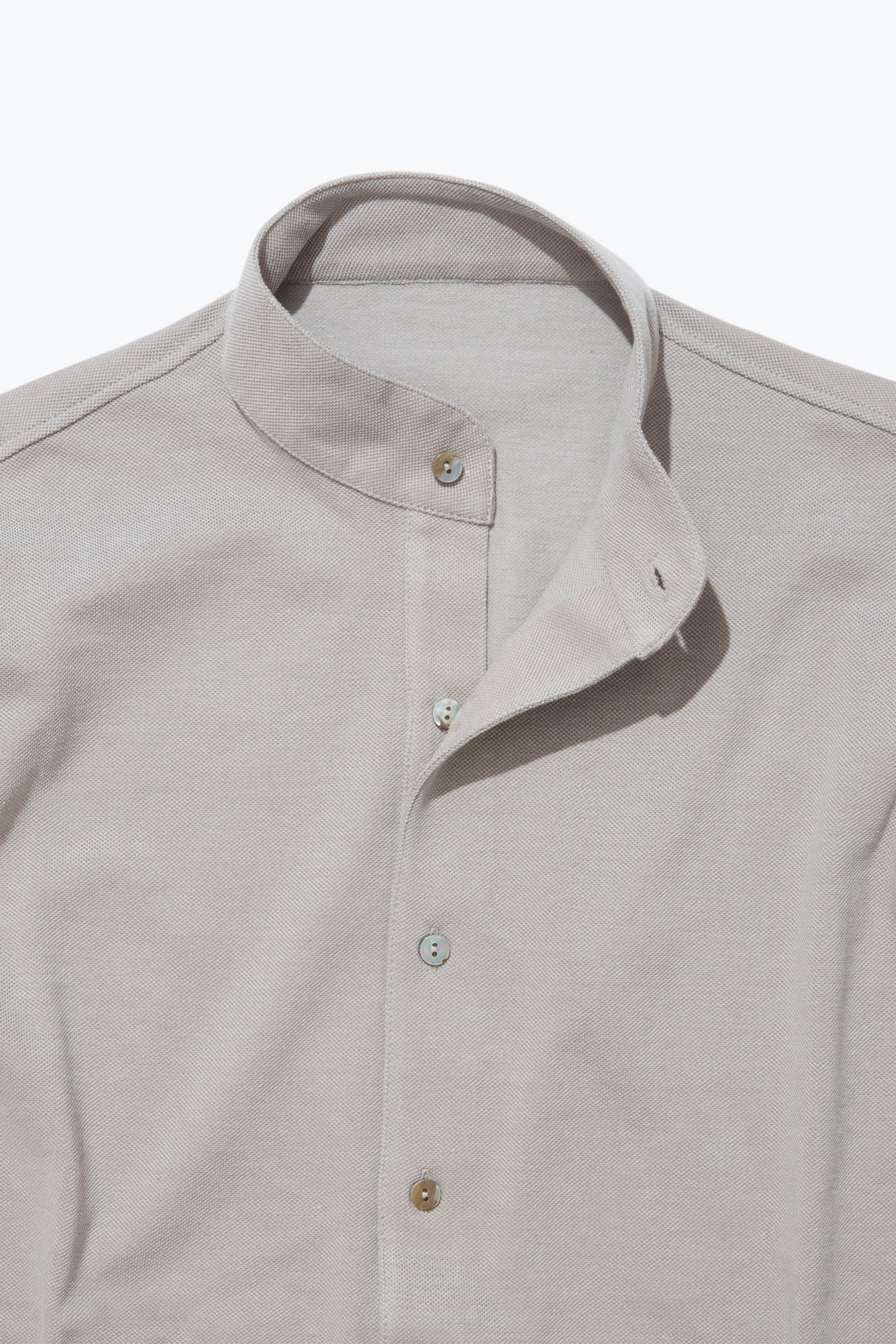 Knitwear - Band Collar Shirt (Taupe)