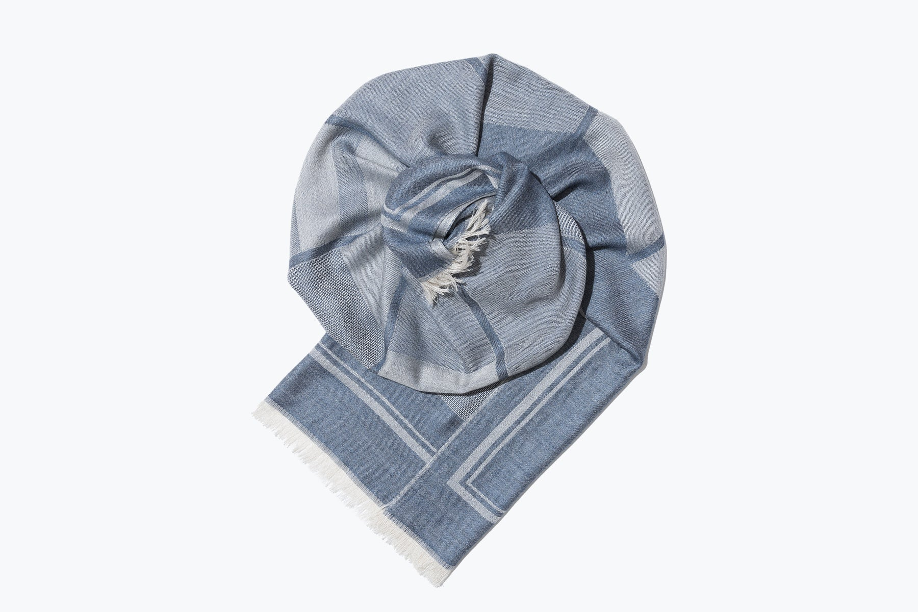 woven large scarf - patchwork sculpture (slate blue)