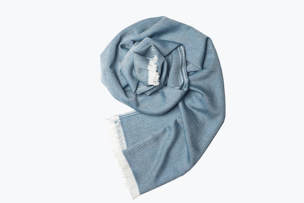 woven shawl scarf - solid with border (emerald blue)