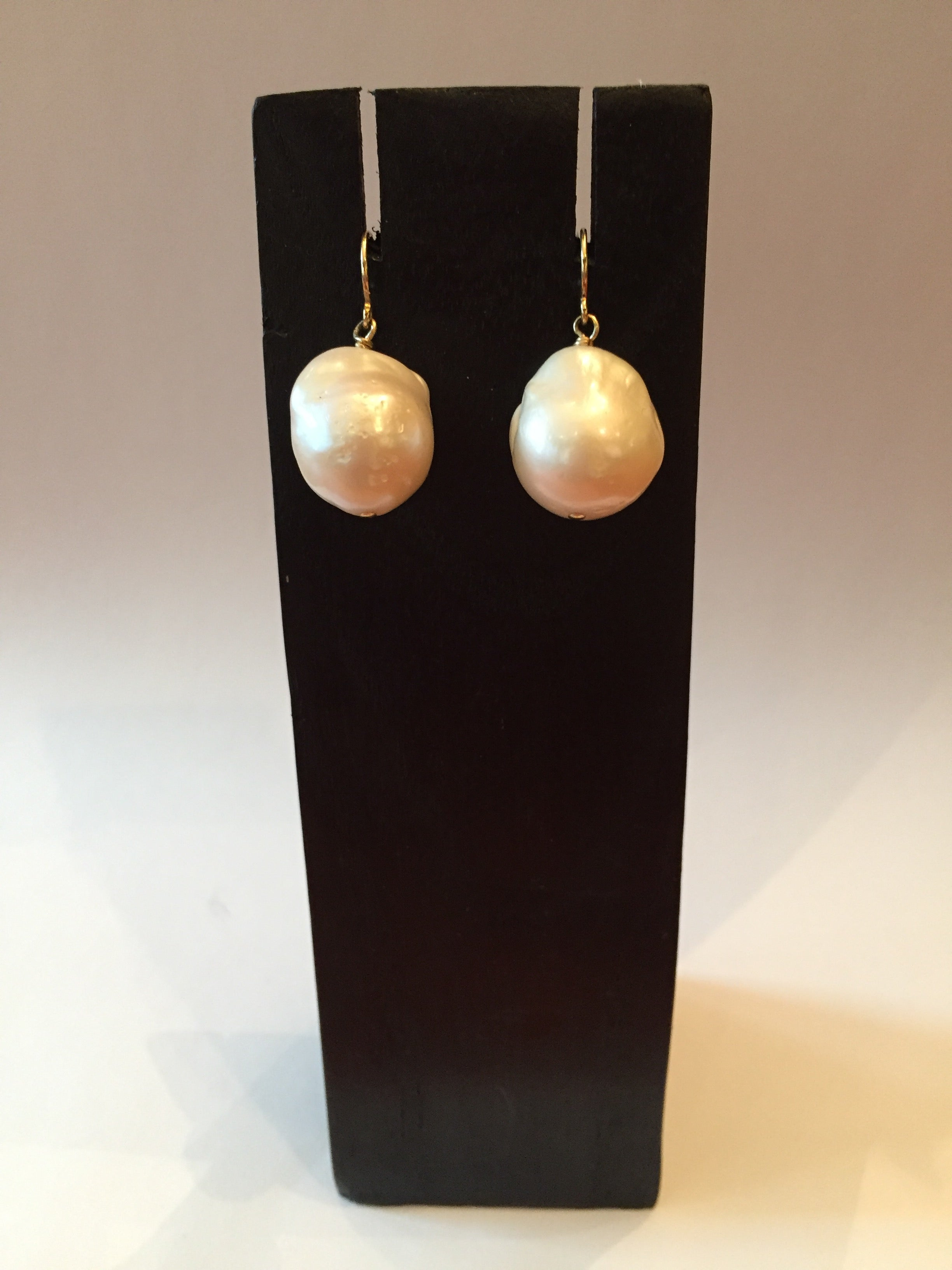 Baroque fresh water white pearl earrings 14k gold