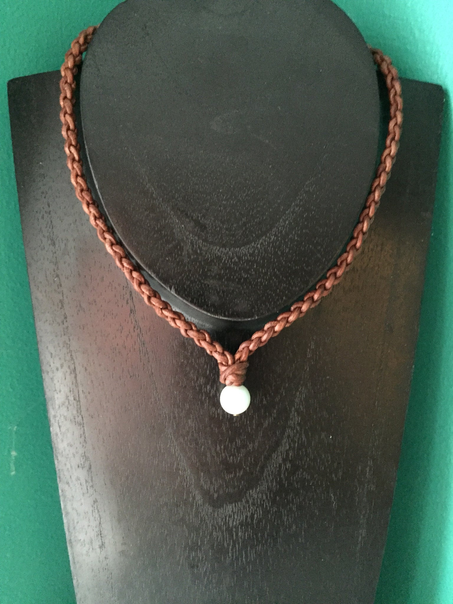 B.E. Classic Leather & White Baroque Pearl Necklace