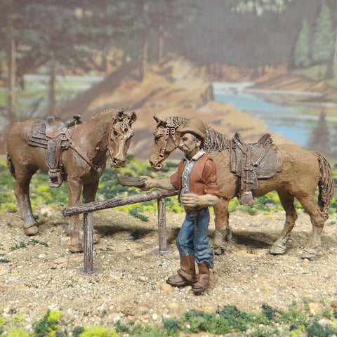 O Scale, On30, On3 Cowboys Horses Cattle and Hitching Posts
