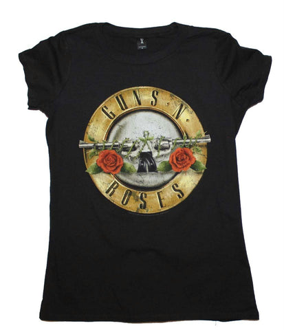 Guns n Roses Distressed Bullet Juniors T-Shirt - Black - Small
