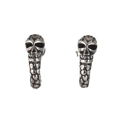 STUD EARRINGS STERLING SILVER 925 SNAKE SKULL