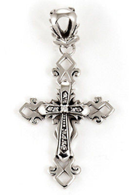 CROSS PENDANT FILIGREE WITH CUBIC ZIRCONIA STERLING SILVER 925
