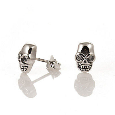 STUD EARRINGS STERLING SILVER 925 SKULL WITH CZ EYES
