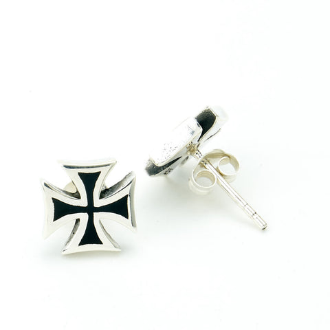 STUD EARRINGS STERLING SILVER 925 IRON CROSS BLACK ENAMEL
