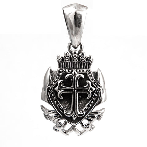 SHIELD CROSS PENDANT STERLING SILVER 925