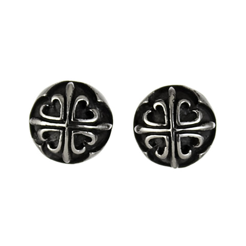 STUD EARRINGS STERLING SILVER 925 CROSS FLORY BUTTON