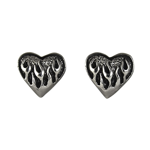 STUD EARRINGS STERLING SILVER 925 FLAMING HEART