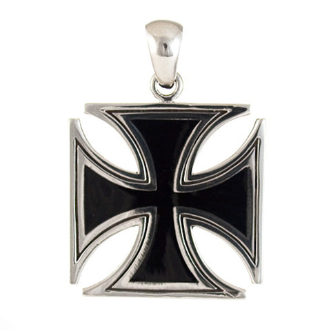 IRON CROSS PENDANT STERLING SILVER 925 OUTLINE ENGRAVING BLACK ENAMEL