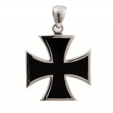 IRON CROSS PENDANT STERLING SILVER 925 WITH BLACK ENAMEL