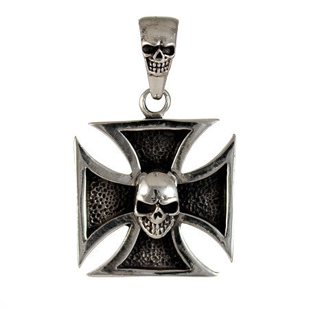 IRON CROSS SKULL PENDANT STERLING SILVER 925