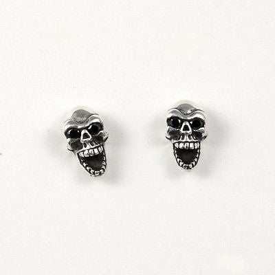 STUD EARRINGS STERLING SILVER 925 LAUGHING SKULL BLACK CZ EYES