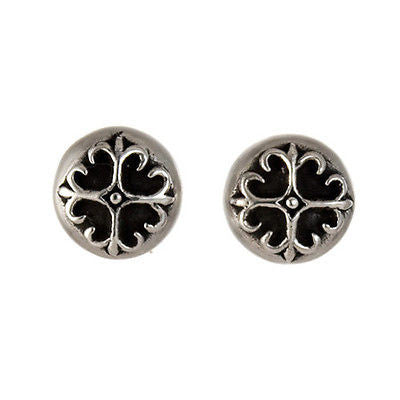 STUD EARRINGS STERLING SILVER 925 FLORAL CROSS BUTTON