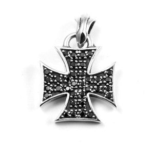 IRON CROSS BLACK CUBIC ZIRCONIA PENDANT STERLING SILVER 925