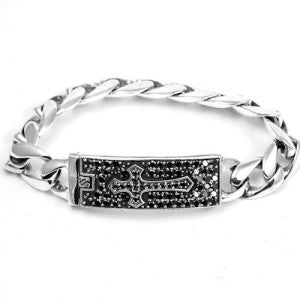 "BRACELET STERLING SILVER 925 CROSS BLACK CZ PLAQUE -9""L"