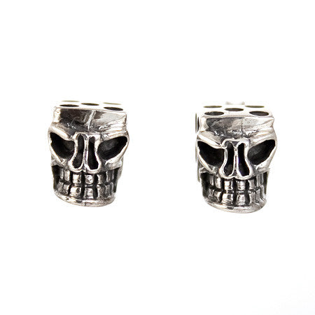 STUD EARRINGS STERLING SILVER 925 SKULL WITH DICE