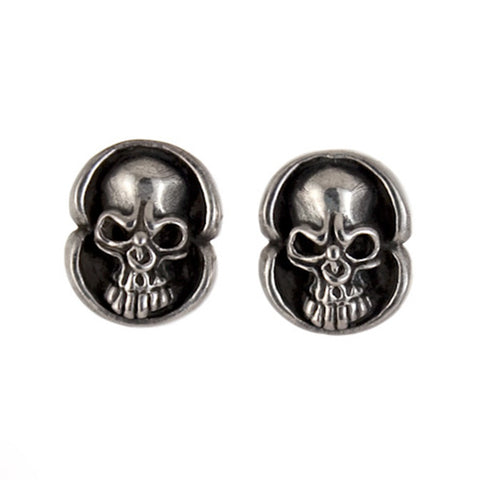 STUD EARRINGS STERLING SILVER 925 SKULL FACE