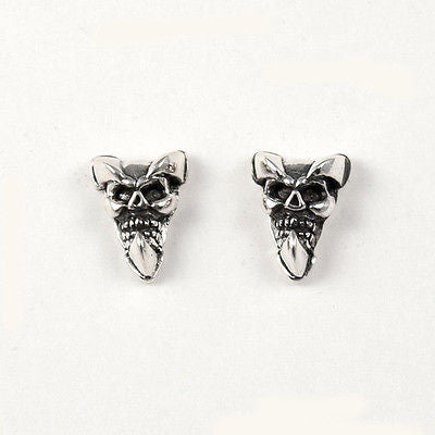 STUD EARRINGS STERLING SILVER 925 SKULL WITH CLAWS