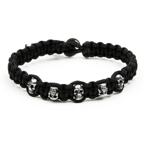 BRACELET KNOTTING FIVE SKULLS STERLING SILVER 925
