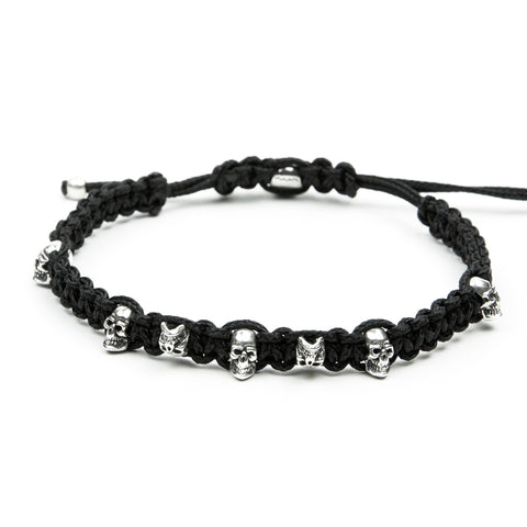 BRACELET FRIENDSHIP KNOTTING SKULLS STERLING SILVER 925