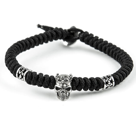 BRACELET PARACORD KNOT & STERLING SILVER 925 SKULL WITH CROWN
