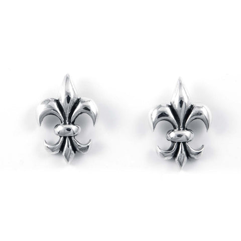 STUD EARRINGS STERLING SILVER 925 FLEUR DE LIS 11 X 15 MM.