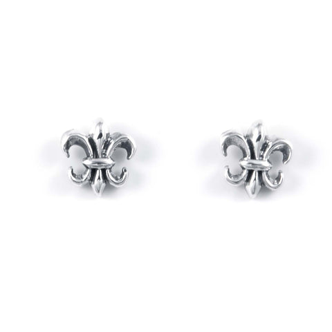 STUD EARRINGS STERLING SILVER 925 FLEUR DE LIS 9 X 9 MM.