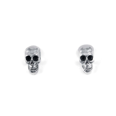 STUD EARRINGS STERLING SILVER 925 3D SKULL - 6 x 10 MM.