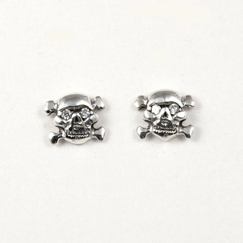 STUD EARRINGS STERLING SILVER 925 SKULL CROSSBONES CZ EYES