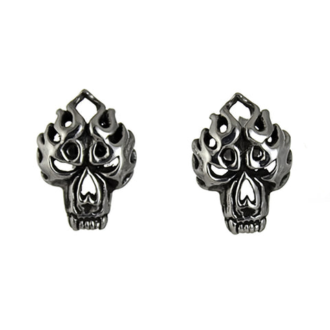 STUD EARRINGS STERLING SILVER 925 FLAME SKULL