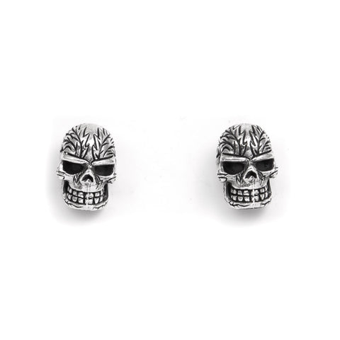 STUD EARRINGS STERLING SILVER 925 HEAD TATTOO SKULL