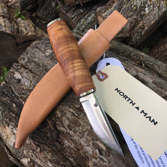 Pukko Knife 75mm with Figured Maple Handle